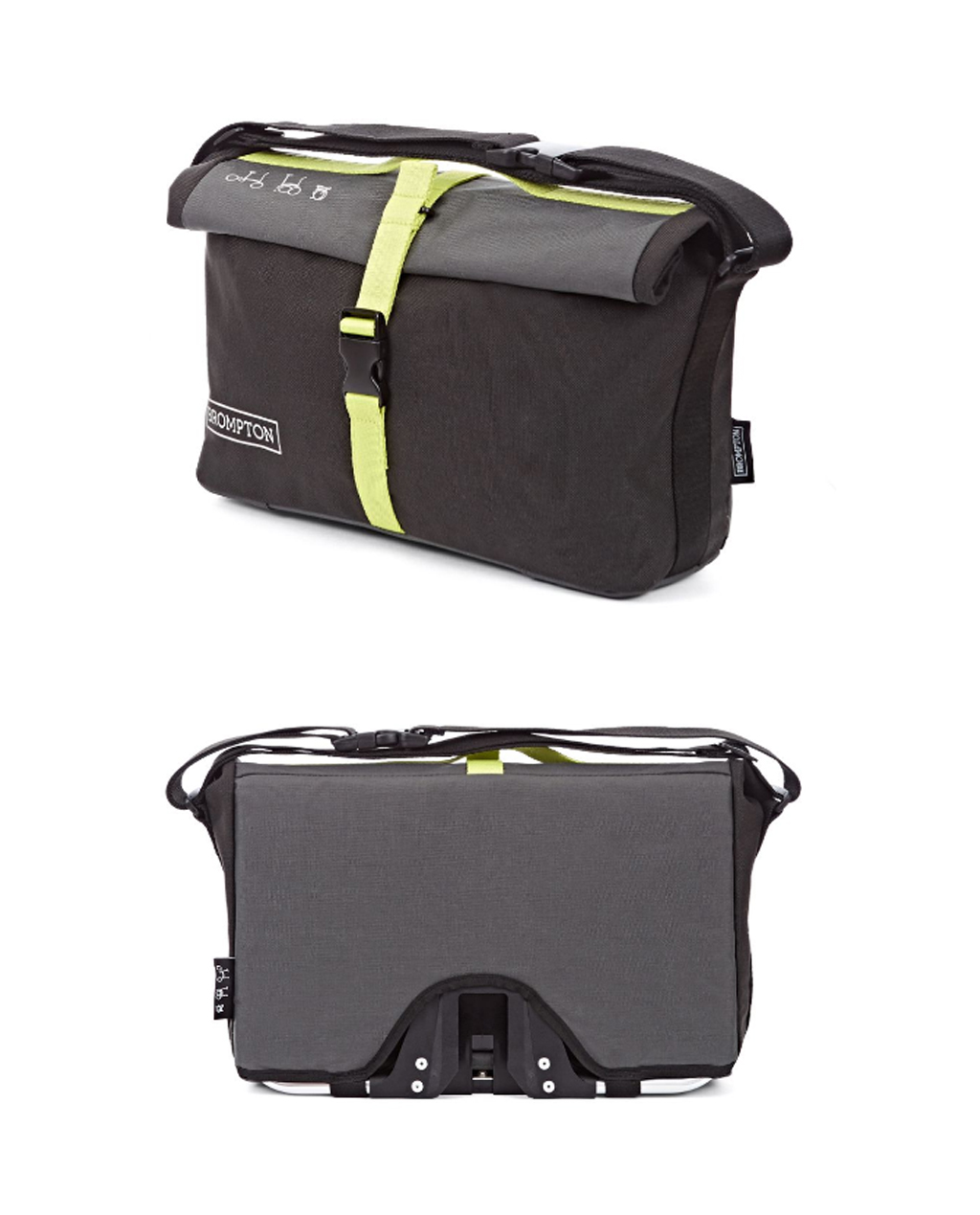Q-Parts - Brompton Roll Top Shoulder Bag - Gray/Black/Lime Green