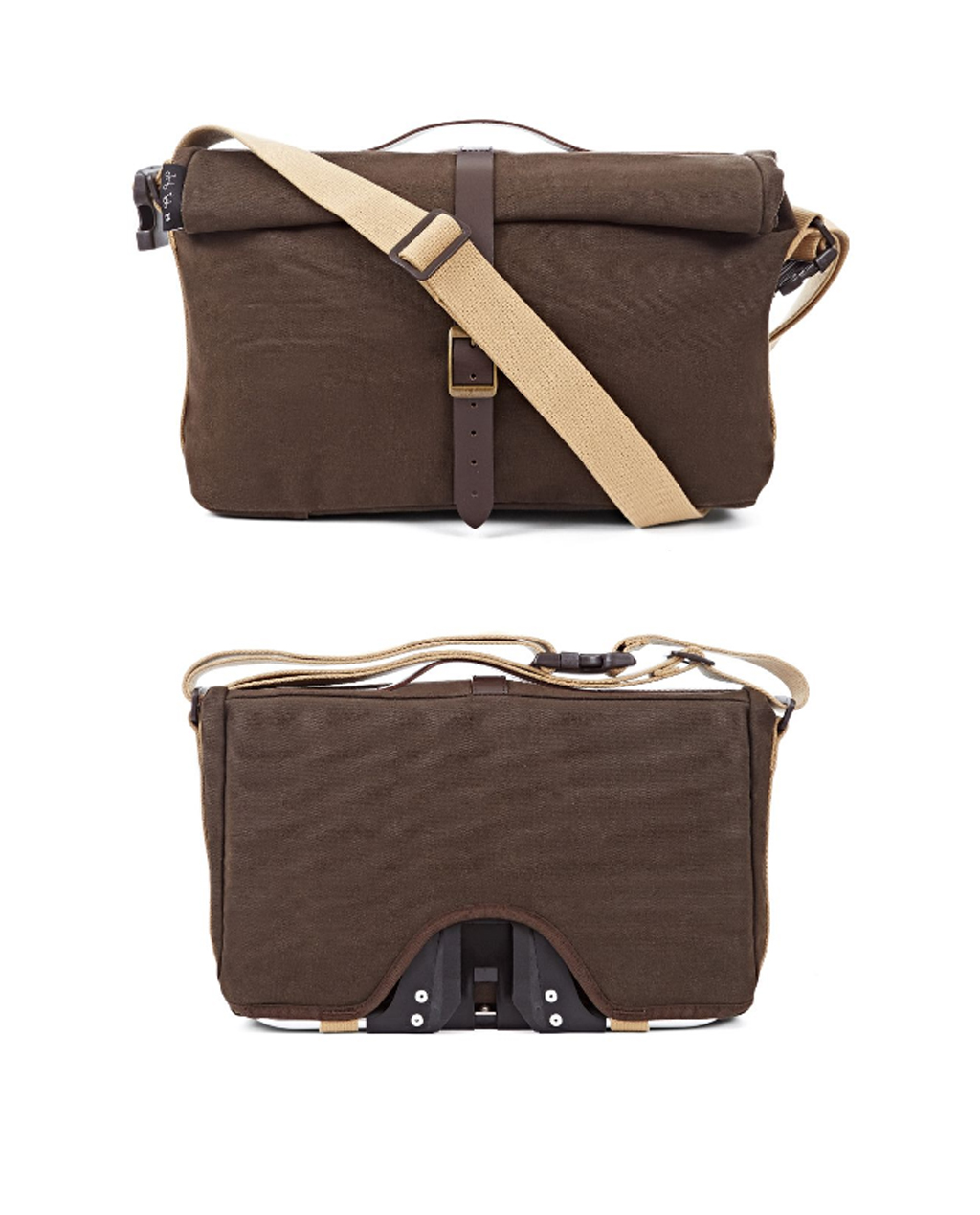 Q-Parts - Brompton Roll Top Shoulder Bag - Waxed Cotton