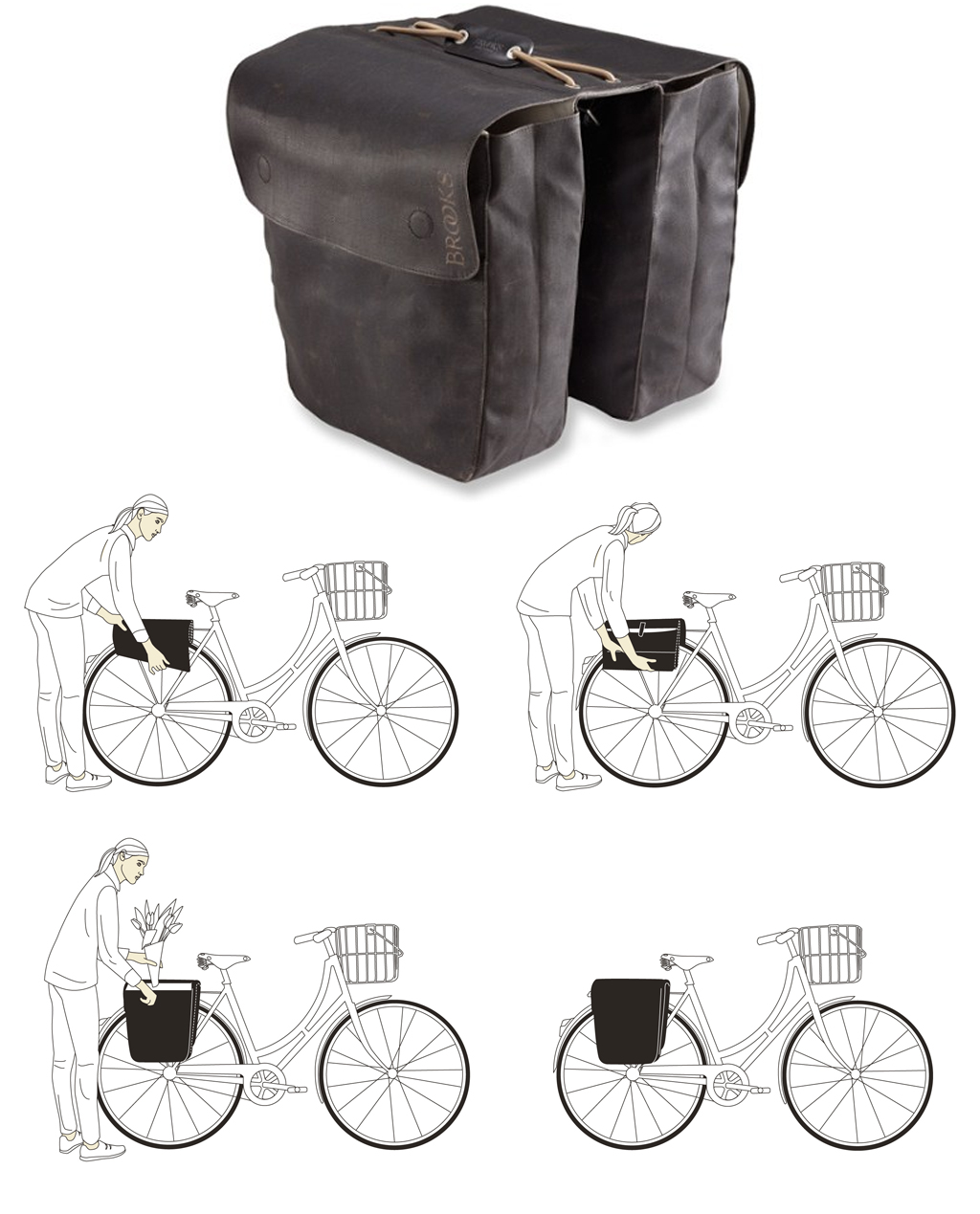 Brooks Brick Lane Roll-Up Panniers - Black/Black